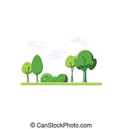 nature., park., dessin animé
