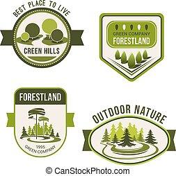 Nature, park, garden square and forest symbol set
