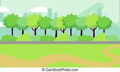 park landscape scene ,4k video animation - nature park...