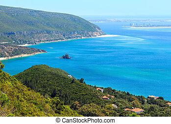 Summer sea coast landscape. View from Nature Park of Arrabida in Setubal, Portugal.