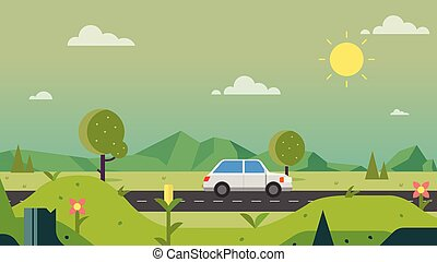 Nature path countryside with car and sky background vector illustration. Beautiful nature scene. Spring landscape with main street
