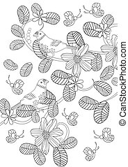 nature pattern with cute birds for your coloring page