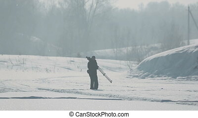 Nature photographer - Photographer of nature on a frosty...