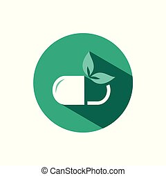 Nature pill icon with shadow on a green circle. Vector pharmacy illustration