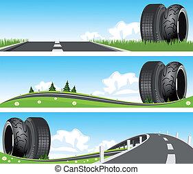 nature, -, pneus, par, manière, bannière