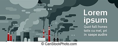 Nature Pollution Plant Pipe Dirty Waste Air And Water Polluted Environment