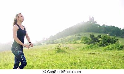 nature., pré, dehors, jeune femme, exercice