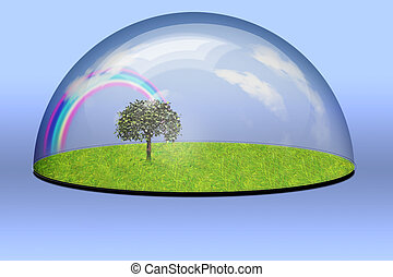 Nature Preserved under glass bubble