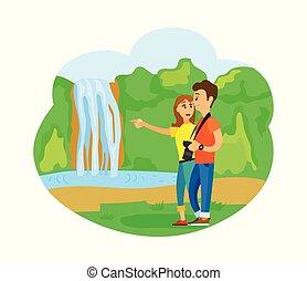 nature, primitif, chute eau, voyager, gens