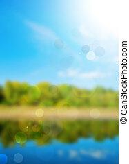 nature, printemps, faisceau, bokeh, fond, soleil