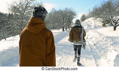 nature., promenade, hiver, ados
