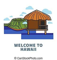 nature, promo, affiche, accueil, hawaï, bungalow