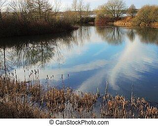 A peaceful lake scene in Lancashire, England.
