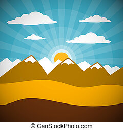 Nature Retro Mountains Illustration with Clouds, Sun, Blue Sky