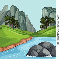 Nature river landscape background