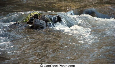 Nature river water flow rock peace serenity
