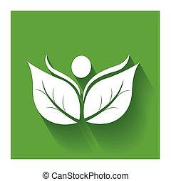nature, sain, gens, pousse feuilles, logo, icône
