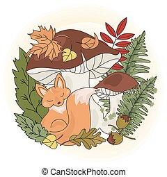 nature, saison, champignon, ensemble, renard, animal, illustration, vecteur
