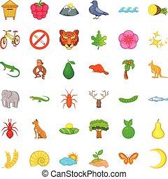 Nature sanctuary icons set, cartoon style - Nature sanctuary...