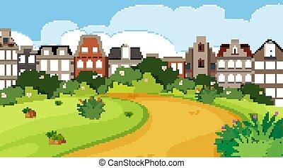 nature, scène ville, bâtiments, parc