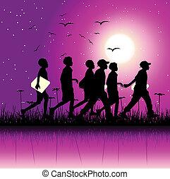 nature, sce, groupe, enfants, nuit