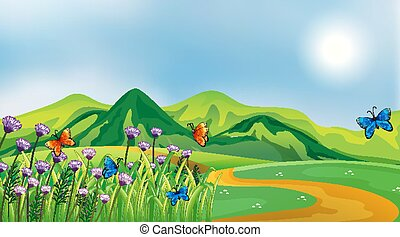 Nature scene background with butterflies in the field