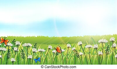 Nature scene background with butterflies in the garden