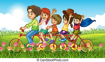 Nature scene background with family riding in the park