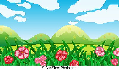 Nature scene background with flowers in the field