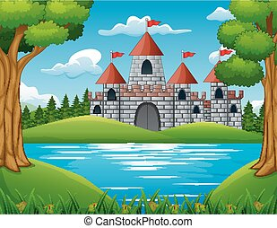Nature scene in front of the castle background