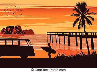 Nature scene of sea in summer, man hold surfboard near beach...