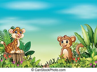 Nature scene with a baby leopard sitting on tree stump and monkey