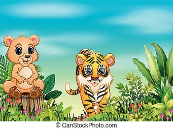 Nature scene with a bear sitting on tree stump and tiger