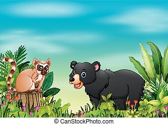Nature scene with a lemur sitting on tree stump and bear