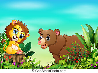 Nature scene with a lion sitting on tree stump and bear