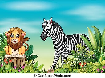 Nature scene with a lion sitting on tree stump and zebra