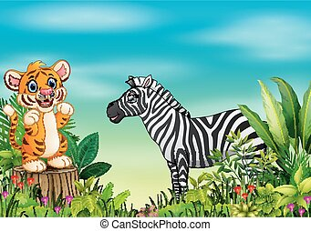 Nature scene with a tiger standing on tree stump and zebra