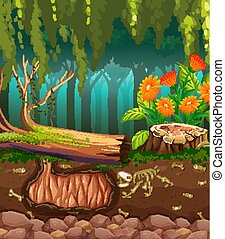 Nature scene with animal bones underground