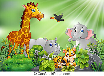 Nature scene with animals cartoon