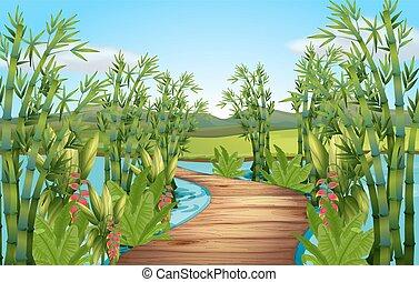 Nature scene with bamboos along the bridge illustration