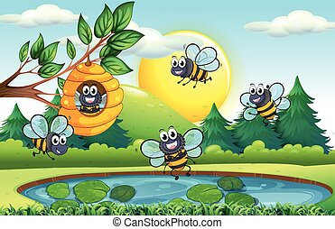 Nature scene with bees and beehive