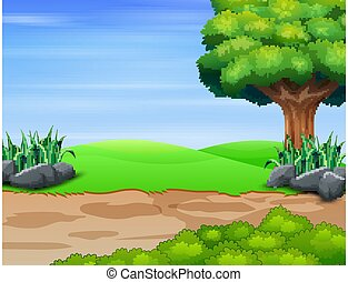 Nature scene with big tree on the field