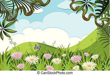 Nature scene with flowers on the hills