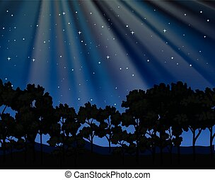 Nature scene with forest at night