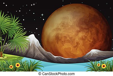 Nature scene with fullmoon at night