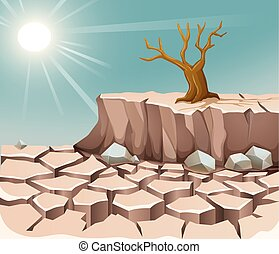 Nature scene with hot sun and dry land