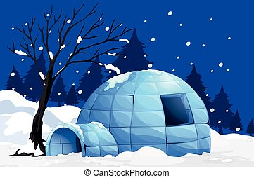 Nature scene with igloo on snowy night