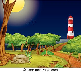 Nature scene with lighthouse at night