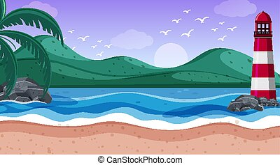 Nature scene with lighthouse by the shore illustration