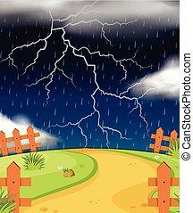 Nature scene with lightning and rain